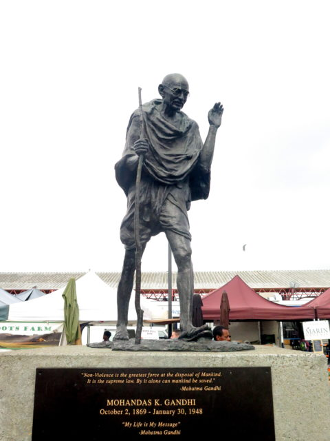 Just as you'd expect, there's a statue of Mahatma Ghandi behind the Ferry Building on the waterfront side. San Francisco, United States, North America.
