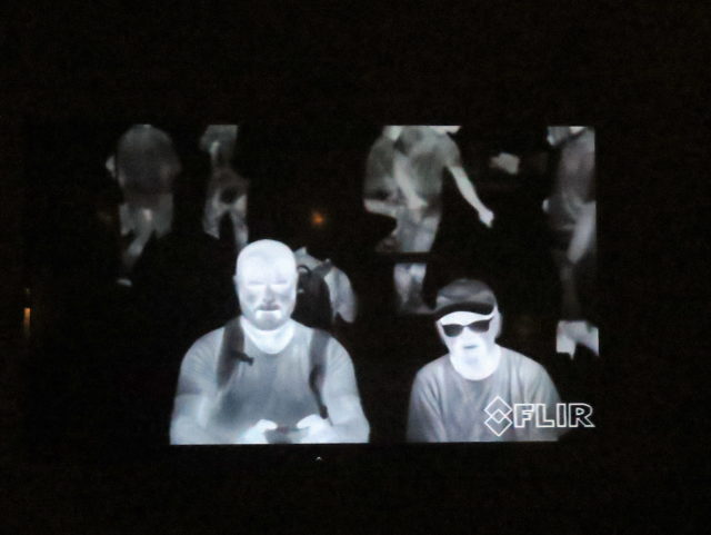 Francisco and me at the Exploratorium, in living thermal imaging. San Francisco, United States, North America.