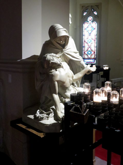 A Michelangelo-inspired Pietà in Old St. Mary's in Chinatown. San Francisco, United States, North America.