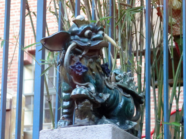 A charming garden creature at the Chinese Historical Society of America. San Francisco, United States, North America.