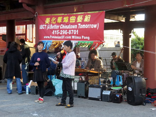 A local cultural group puts on a performance in Portsmouth Square. San Francisco, United States, North America.