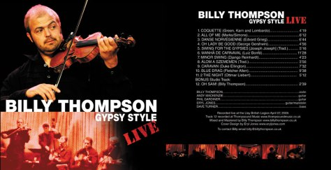 Front and Back cover of the Billy Thompson Gypsy Style Live Audio CD