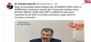 Fahrettin Koca Doğu ve Güneydoğu Anadolu Bölgelerine hastane yatırımlarını açıkladı!