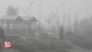 Sivas'ta sis ve kırağı kenti beyaza bürüdü