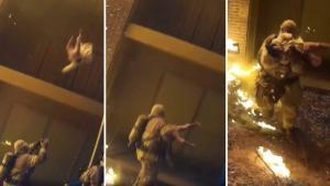 Yangın Sırasında Metrelerce Yükseklikten Bırakılan Çocuğu Havada Yakalayan Kahraman İtfaiyeci