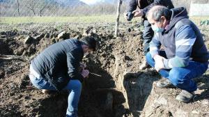 Bahçesinde ağaç dikmek için kazı yaparken kerpiç yapılar buldu
