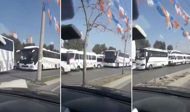 CHP'li Sertel videosunu paylaştı: Yüzlerce otobüs, çevre il ve ilçelerden AKP İzmir Kongresi'ne insan taşıdı