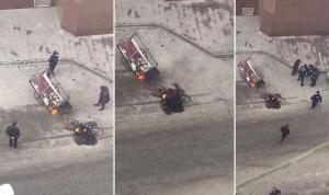 Belediyenin önünde aracını yaktı, gözyaşlarına boğuldu