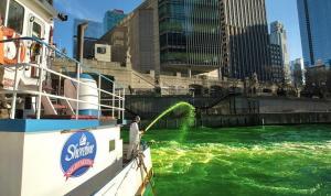 Chicago Nehri, yonca yeşili oldu
