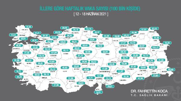 En yüksek vaka sayıları Kütahya, Bolu, Eskişehir, Ağrı ve Rize'de