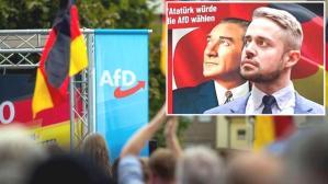 """Almanya'daki aşırı sağcı partiden büyük skandal! Afişe Atatürk'ün resmini koyup """"O da bize oy verirdi"""" yazdılar"""