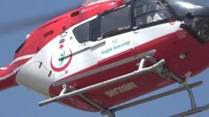 Beyin kanaması geçiren yaşlı adam ambulans helikopterle hastaneye yetiştirildi