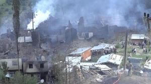 Son dakika… Dün Yusufeli'nde çıkan yangında 33 evden geri enkaz kaldı