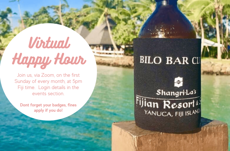 Virtual Happy Hour – this Sunday @ 5pm (Fiji time)