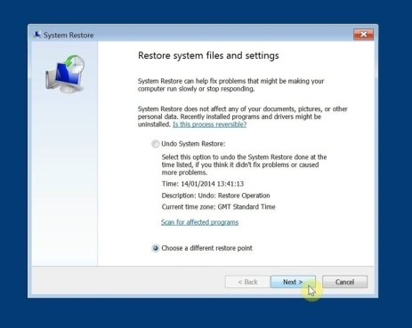 System Restore Windows 7