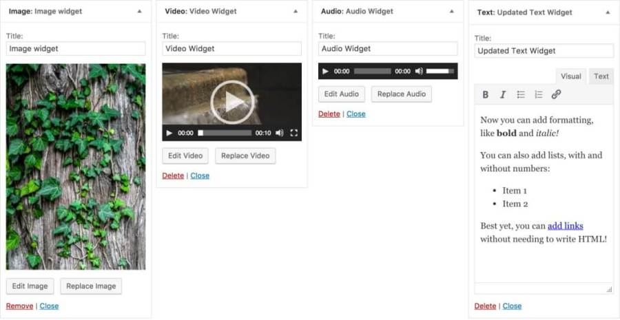 Widgets baru WordPress 4.8 Free