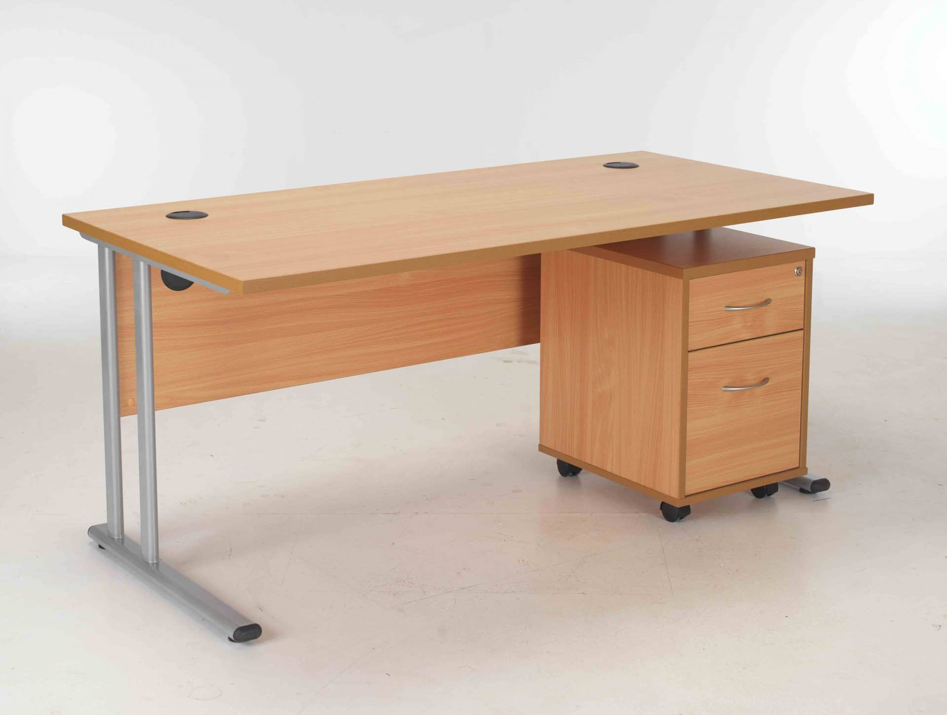 Bimi Oak Rectangular Desk With 2 Draw Mobile Pedestal