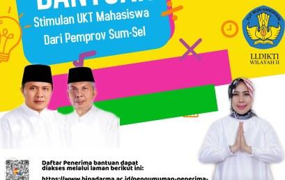 Pengumuman Penerima Bantuan Stimulan  UKT Mahasiswa dari Gubernur Provinsi Sumatera Selatan