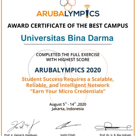 Universitas Bina Darma Raih AWARD CERTIFICATE OF THE BEST CAMPUS di acara ARUBA LYMPICS.