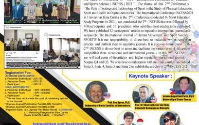 "INTERNATIONAL VIRTUAL CONFERENCE ""INCESS 2021″BSPORT UNIVERSITAS BINA DARMA"