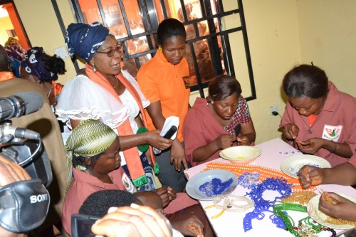 Dr. Mrs. Joyce Chukwuma at the Bead and wirework deparment during students training session
