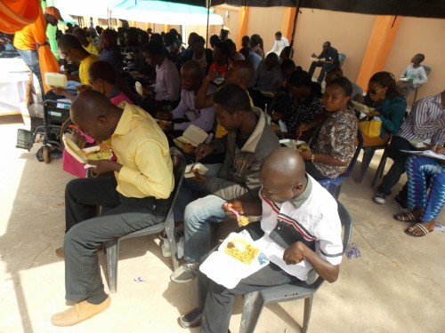 New intakes enjoying their free lunch during the orientation exercise