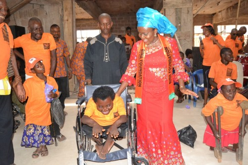 One of the physically challenged dances on his wheelchair during praise session
