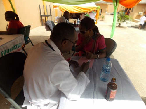 Patients receive medical services at the orientation of new students