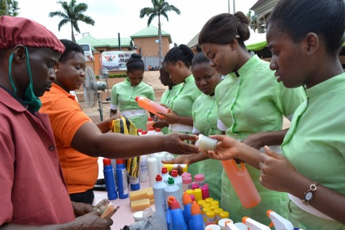 Student nurses clamour for the finished products of the Cosmetology Department