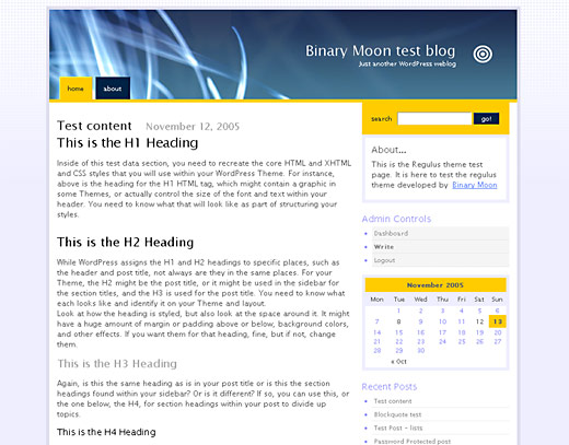 screenshot of the Regulus WordPress Theme in action