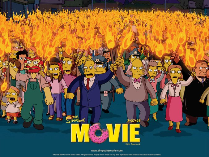 The Simpsons Movie Mob hunt down Homer and co