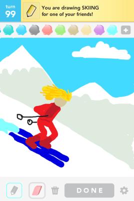 Draw Something - Skiing