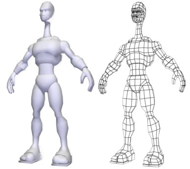 Alien perspective render and wireframe