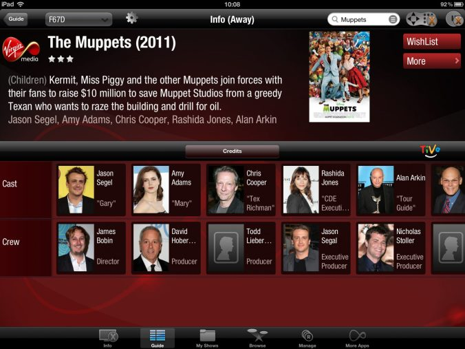 Movie cast and crew listings on the iPad app.