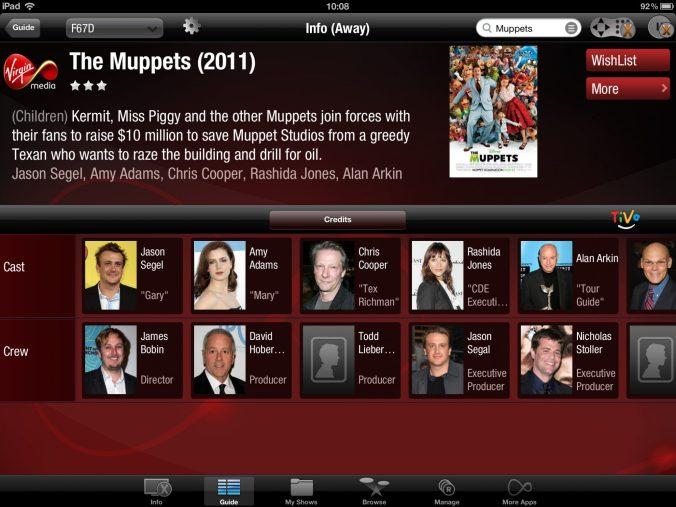 Movie cast and crew listings on the iPad app.