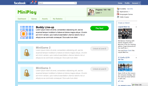 MiniPlay version 1 - Facebook Hackathon 2010