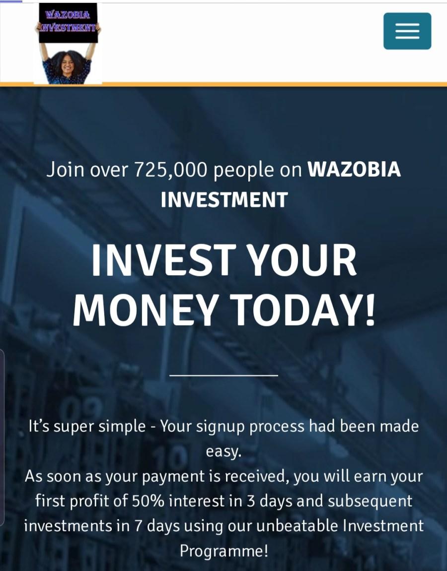 Wazobia cash investment