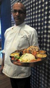 Chef Dev Bose with the Rajasthani Vegetarian thaali