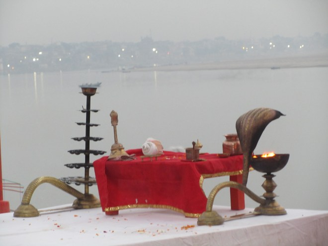 Puja items at the morning arati