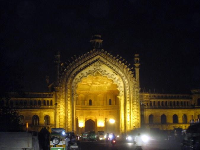 Rumi Darwaza at night