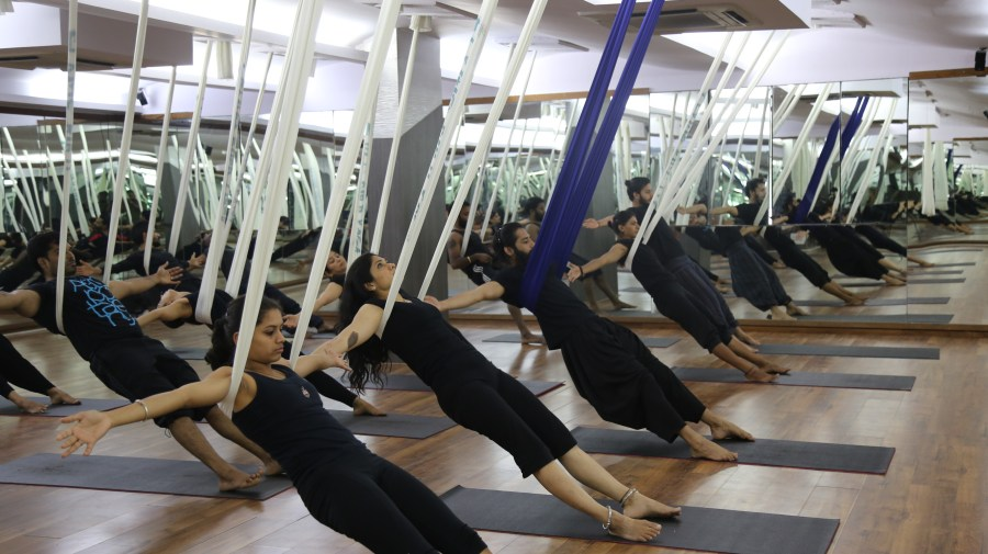 Aerial Yoga at Akshar Yoga Center in Bangalore