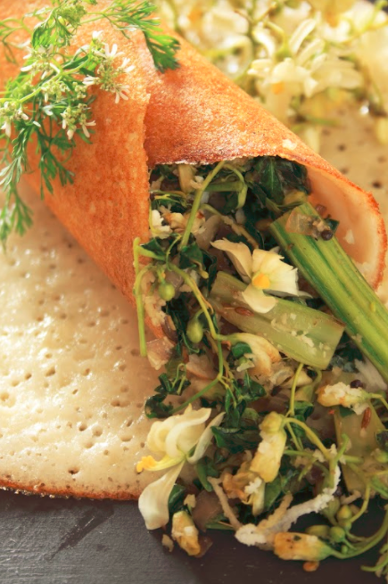Trio of drumstick palya with mysore dosa