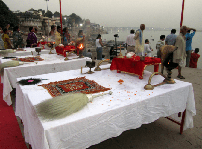 The morning arati in Varanasi