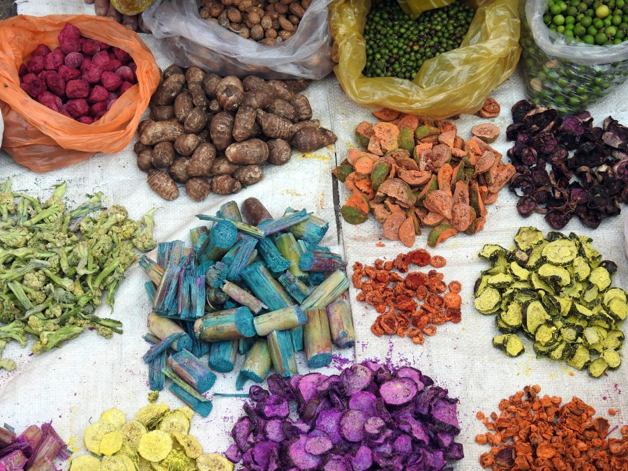 Local dried vegetables being sold in Bhopal's Chowk