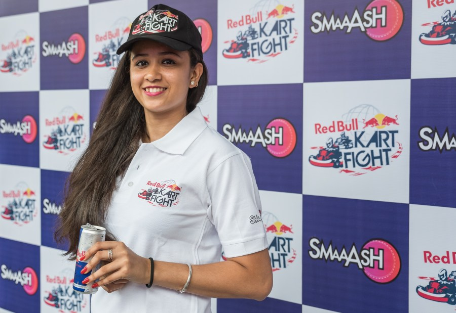 Mira Erda during the press conference for the launch of Red Bull Kart Fight, an Amateur go-kart competition held at Smaaash,Lower Parel, in Mumbai, India on July 18, 2017.  Photo :Ankur Salvi / Focus Sports / Red Bull