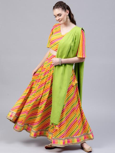 AKS Multicoloured Ready to Wear Leheriya Print Lehenga & Blouse with Dupatta