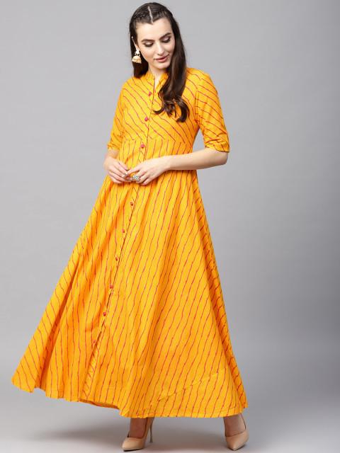 AKS Women Yellow Leheriya Print Ethnic Jacket
