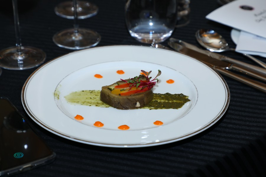 Charlotte of candied vegetables, emulsion of basil leaves with pine nuts