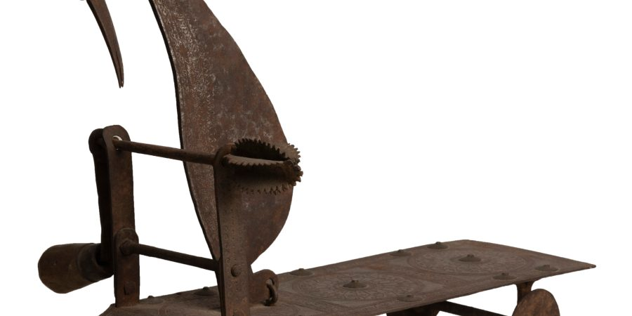 A coconut grater and vegetable cutter c. 18th-19th century, South India. Iron. Image courtesy of the Museum of Art & Photography (MAP), Bengaluru
