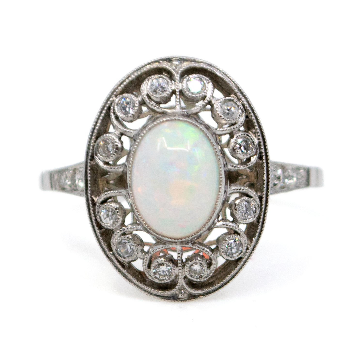 Opal Diamond Enement Ring | Diamond Opal Platinum Ring 4963ap Binenbaum Antiques Jewelry